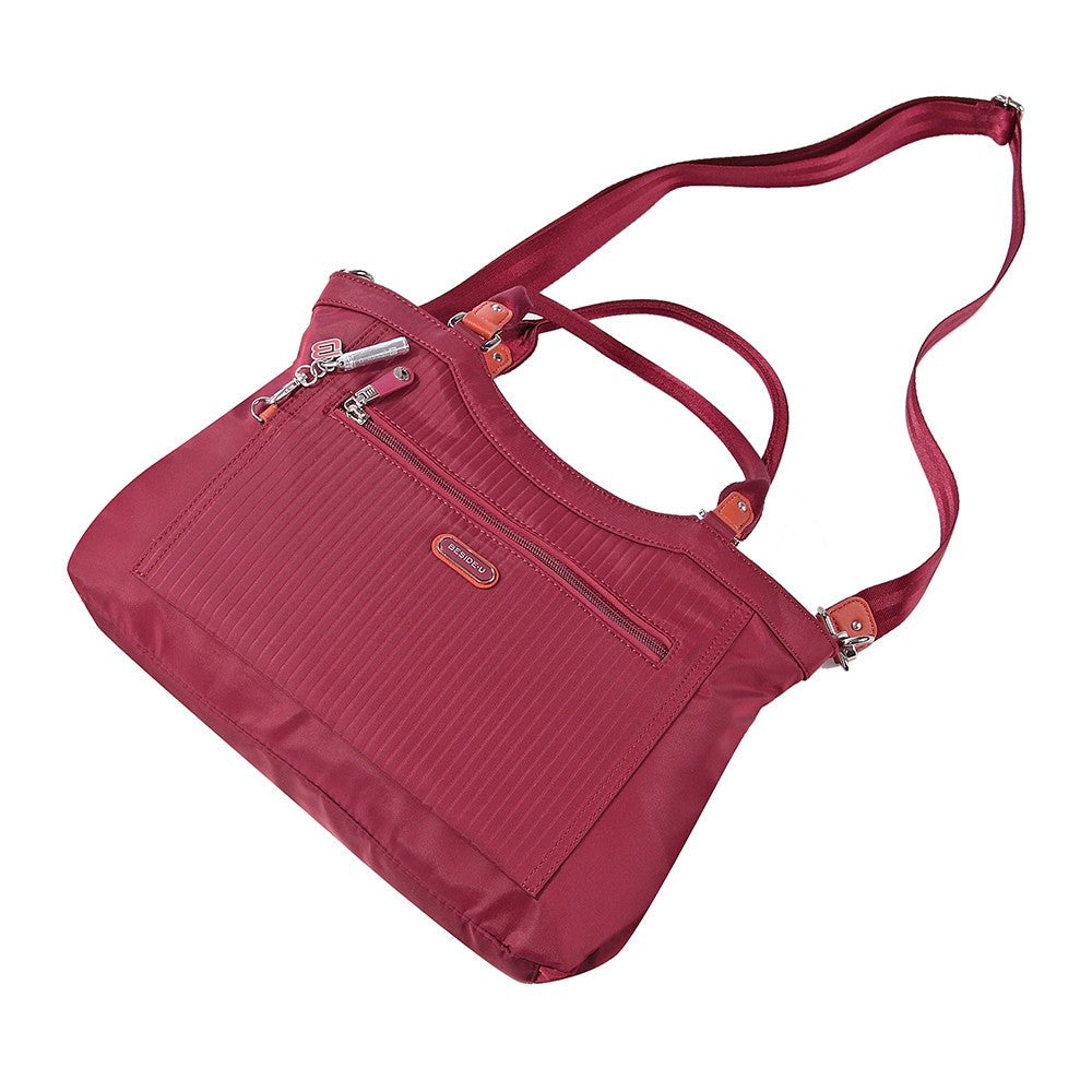 Satchel Handbag - Opal Leather Trimmed Medium Satchel Handbag Lying Down [Tawny Port]