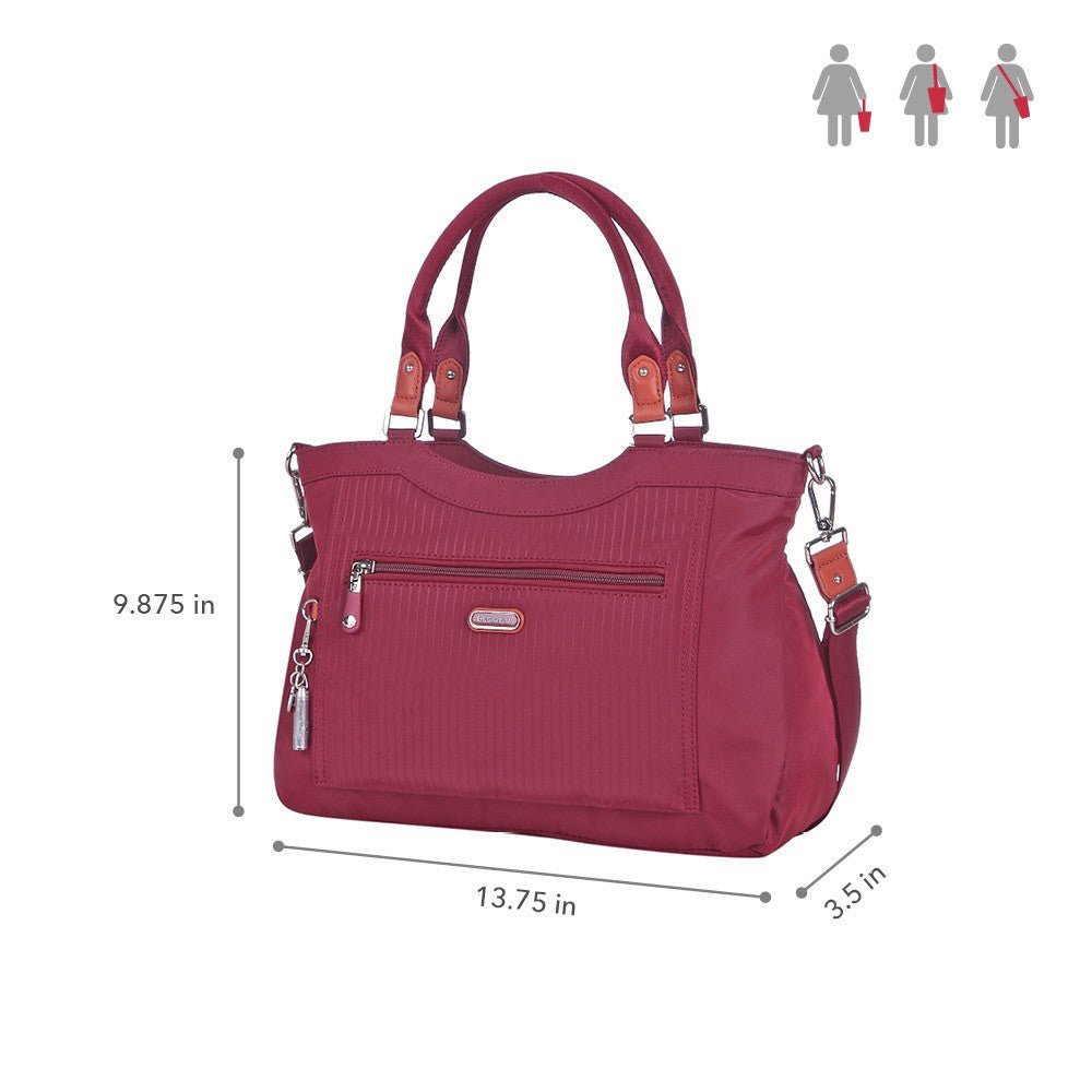 Satchel Handbag - Opal Leather Trimmed Medium Satchel Handbag Size [Tawny Port]