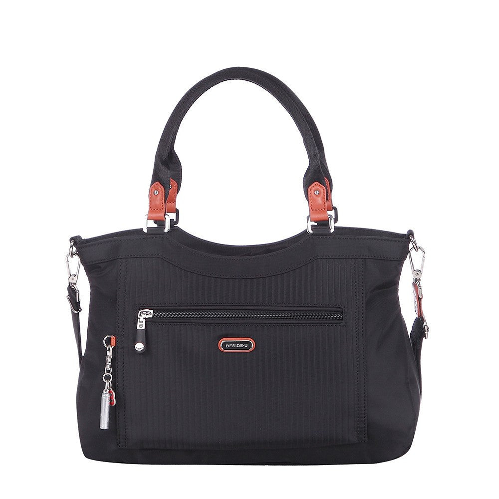 Satchel Handbag - Opal Leather Trimmed Medium Satchel Handbag Front [Black]
