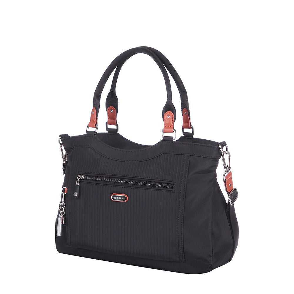 Satchel Handbag - Opal Leather Trimmed Medium Satchel Handbag Angled [Black]