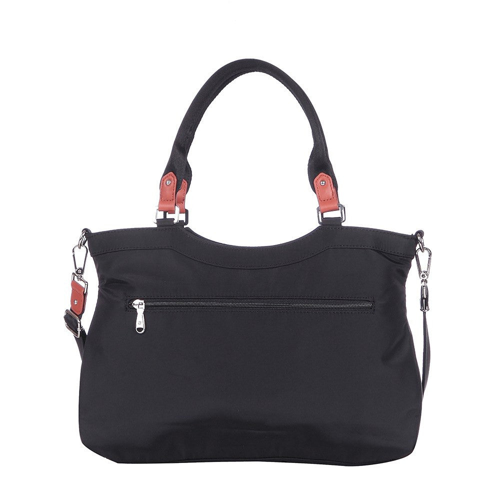 Satchel Handbag - Opal Leather Trimmed Medium Satchel Handbag Back [Black]