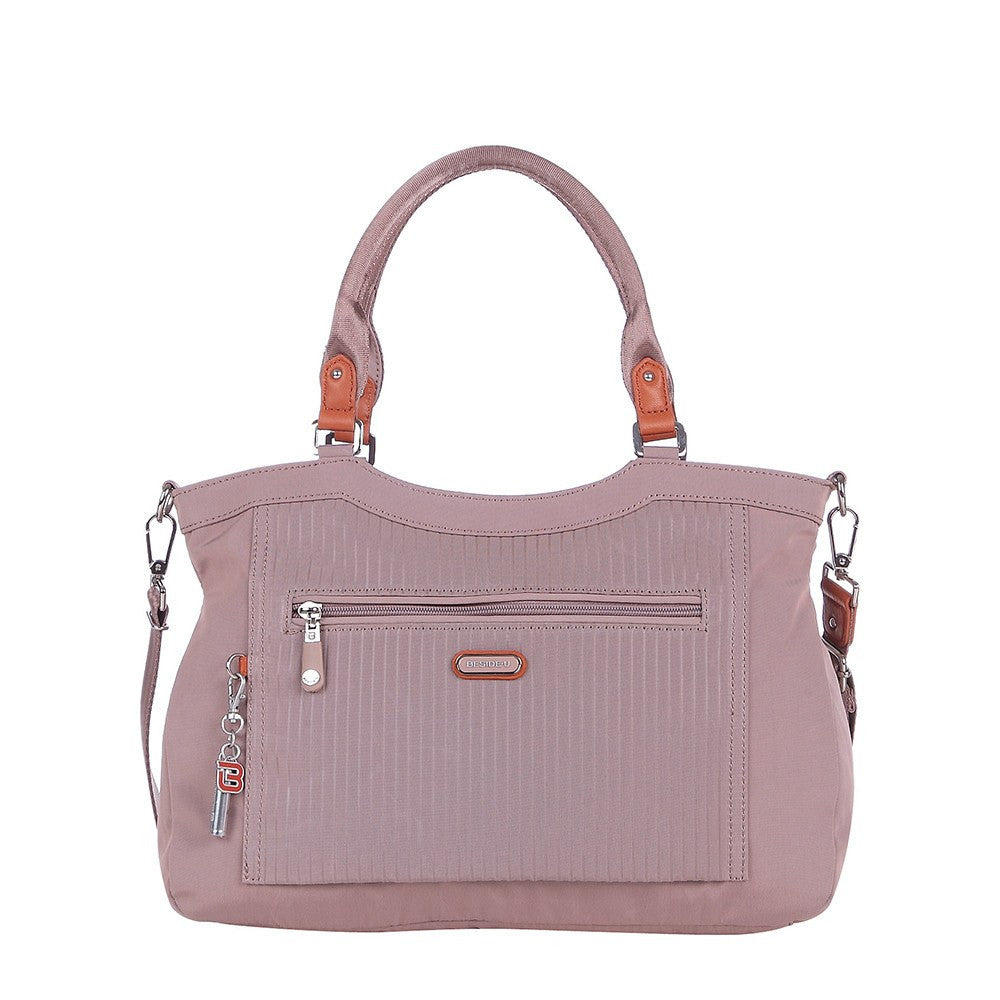 Satchel Handbag - Opal Leather Trimmed Medium Satchel Handbag Front [Rose Dawn]