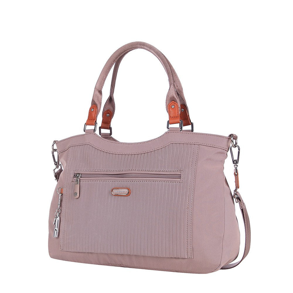 Satchel Handbag - Opal Leather Trimmed Medium Satchel Handbag Angled [Rose Dawn]