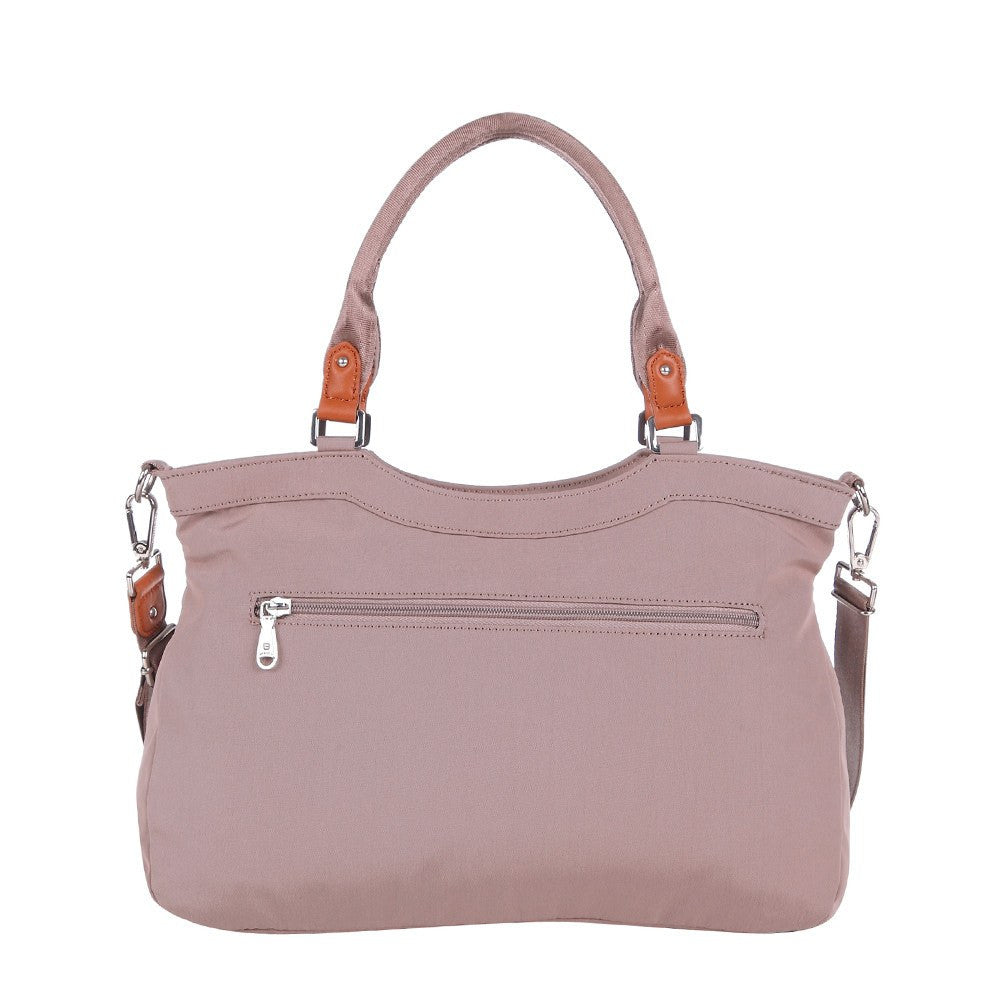 Satchel Handbag - Opal Leather Trimmed Medium Satchel Handbag Back [Rose Dawn]