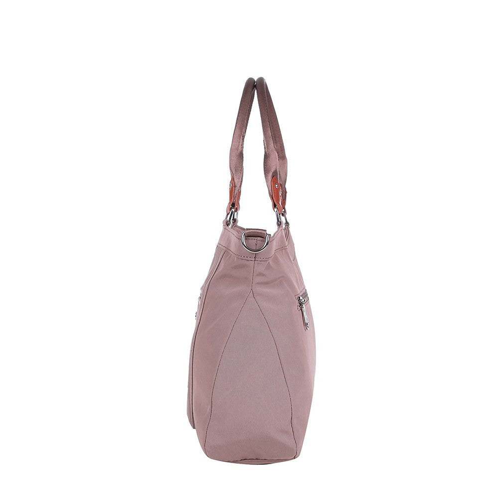 Satchel Handbag - Opal Leather Trimmed Medium Satchel Handbag Side [Rose Dawn]