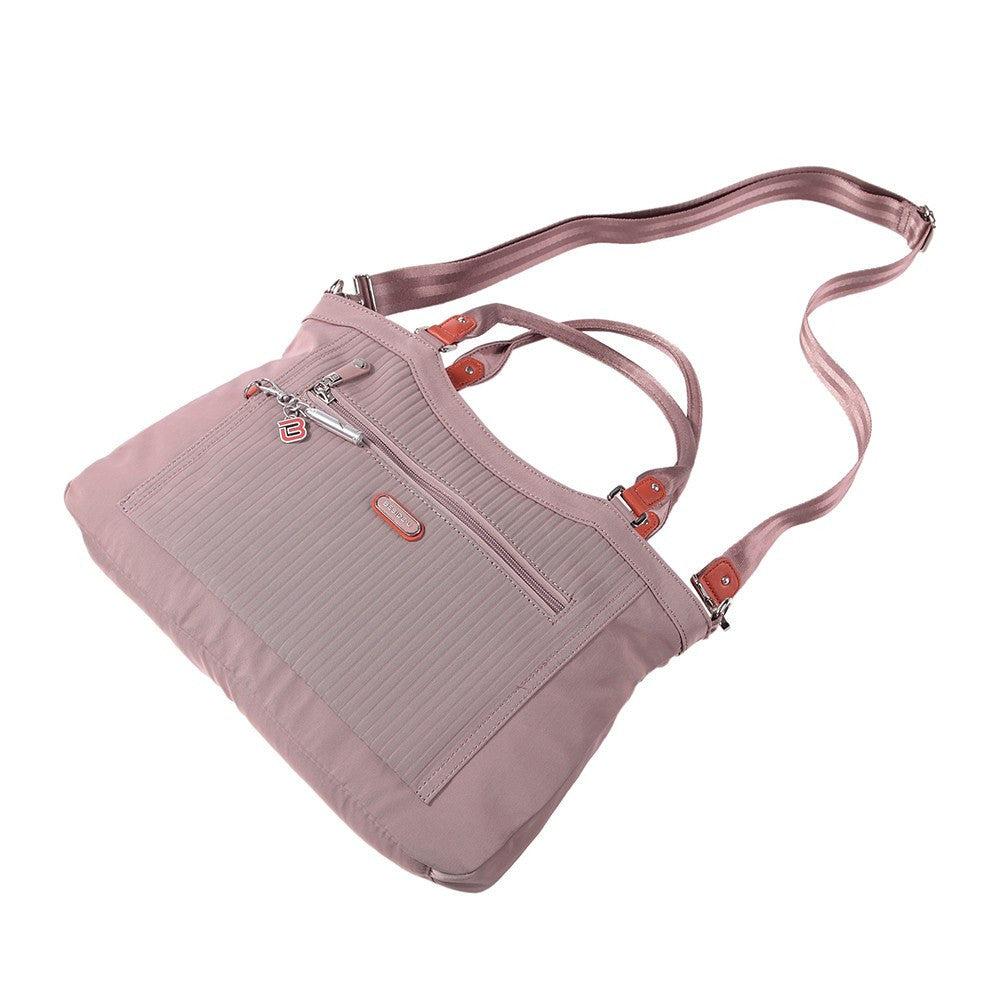 Satchel Handbag - Opal Leather Trimmed Medium Satchel Handbag Lying Down [Rose Dawn]