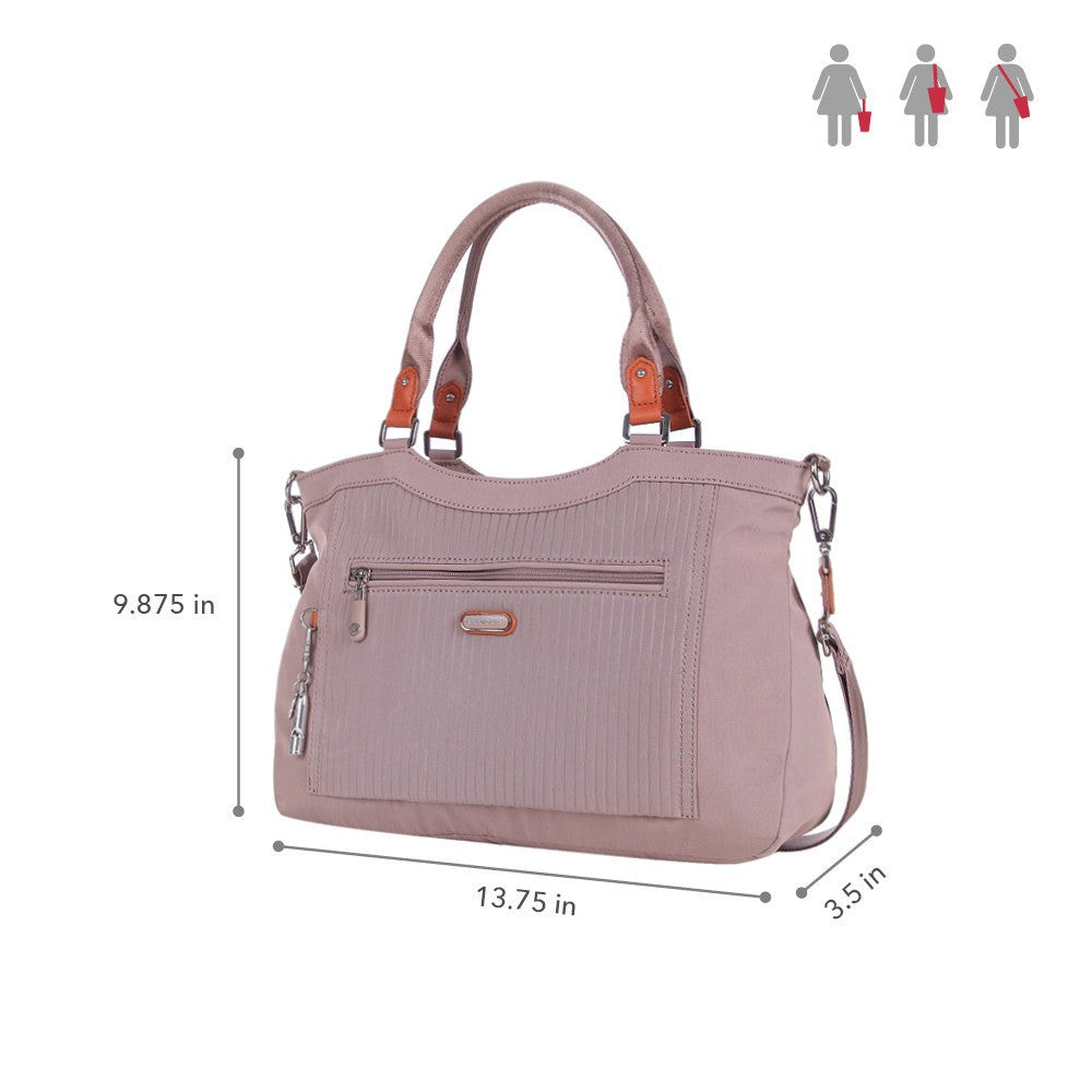 Satchel Handbag - Opal Leather Trimmed Medium Satchel Handbag Size [Rose Dawn]