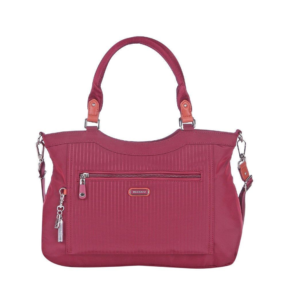 Satchel Handbag - Opal Leather Trimmed Medium Satchel Handbag Front [Tawny Port]