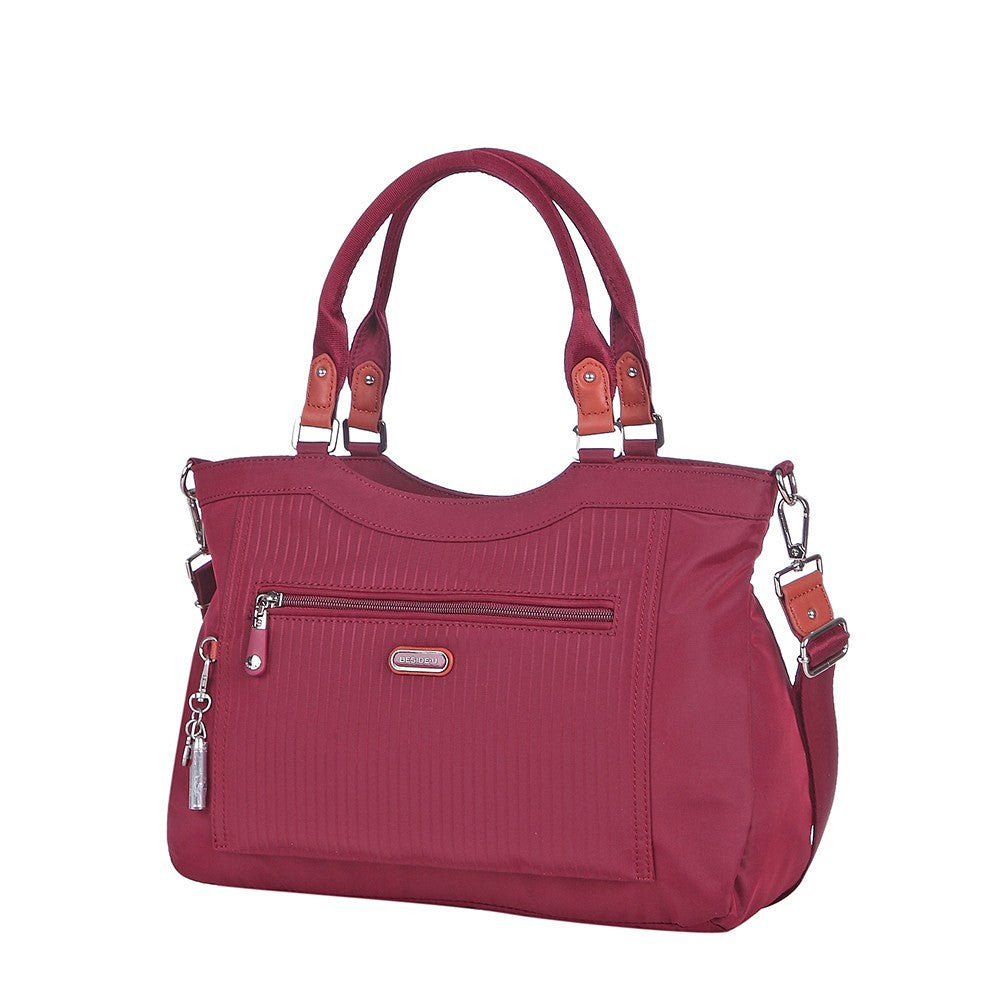 Satchel Handbag - Opal Leather Trimmed Medium Satchel Handbag Angled [Tawny Port]