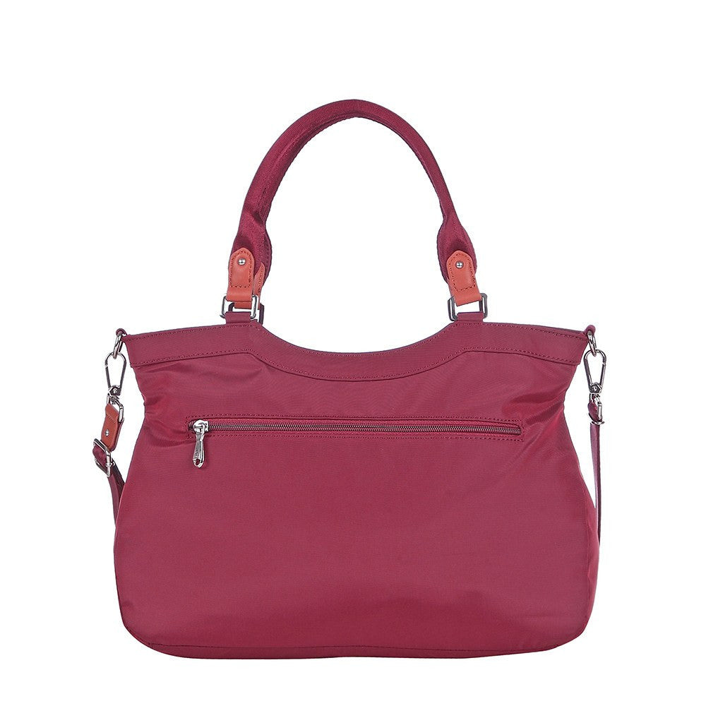 Satchel Handbag - Opal Leather Trimmed Medium Satchel Handbag Back [Tawny Port]