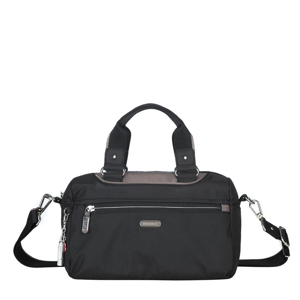 Satchel Handbag - Payton Color Trimmed Small Satchel Handbag Front [Black And Puce Grey]
