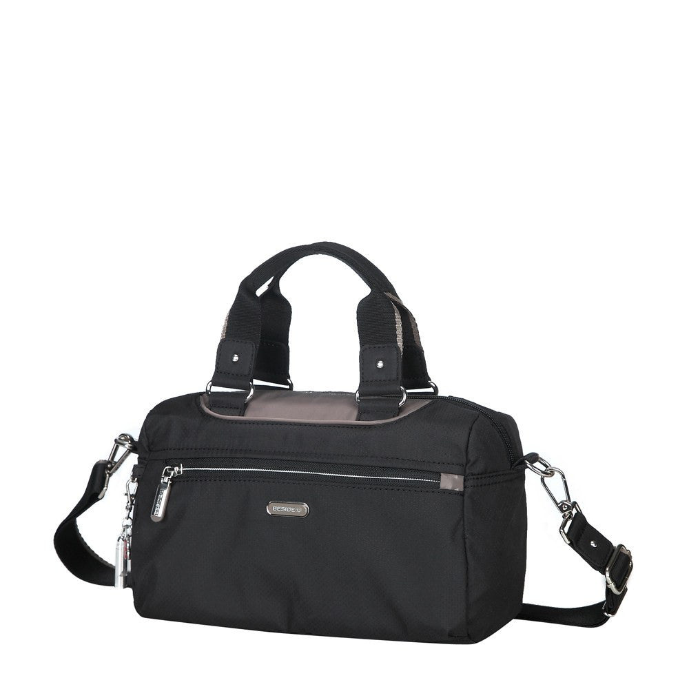 Satchel Handbag - Payton Color Trimmed Small Satchel Handbag Angled [Black And Puce Grey]