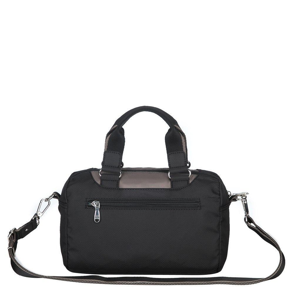 Satchel Handbag - Payton Color Trimmed Small Satchel Handbag Back [Black And Puce Grey]