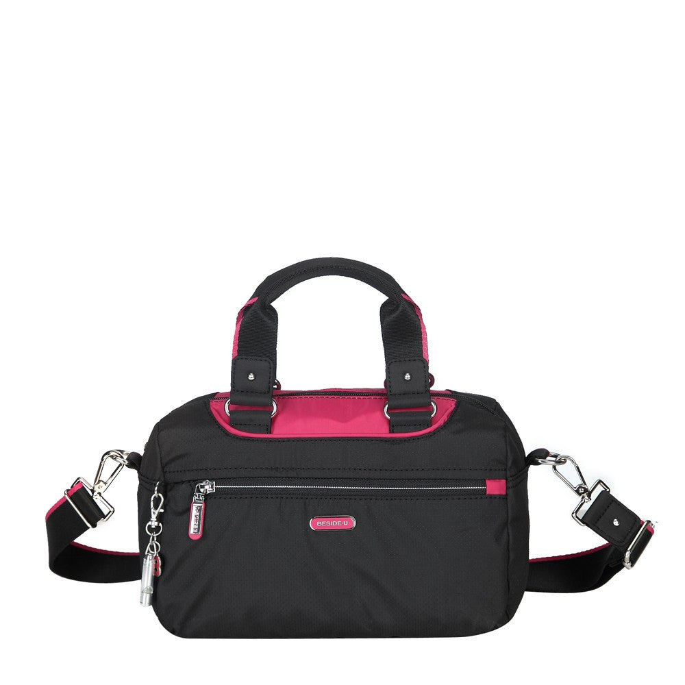 Satchel Handbag - Payton Color Trimmed Small Satchel Handbag Front [Black And Rio Red]