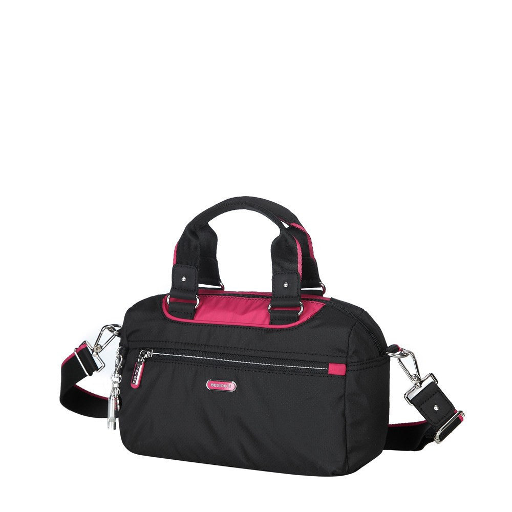 Satchel Handbag - Payton Color Trimmed Small Satchel Handbag Angled [Black And Rio Red]