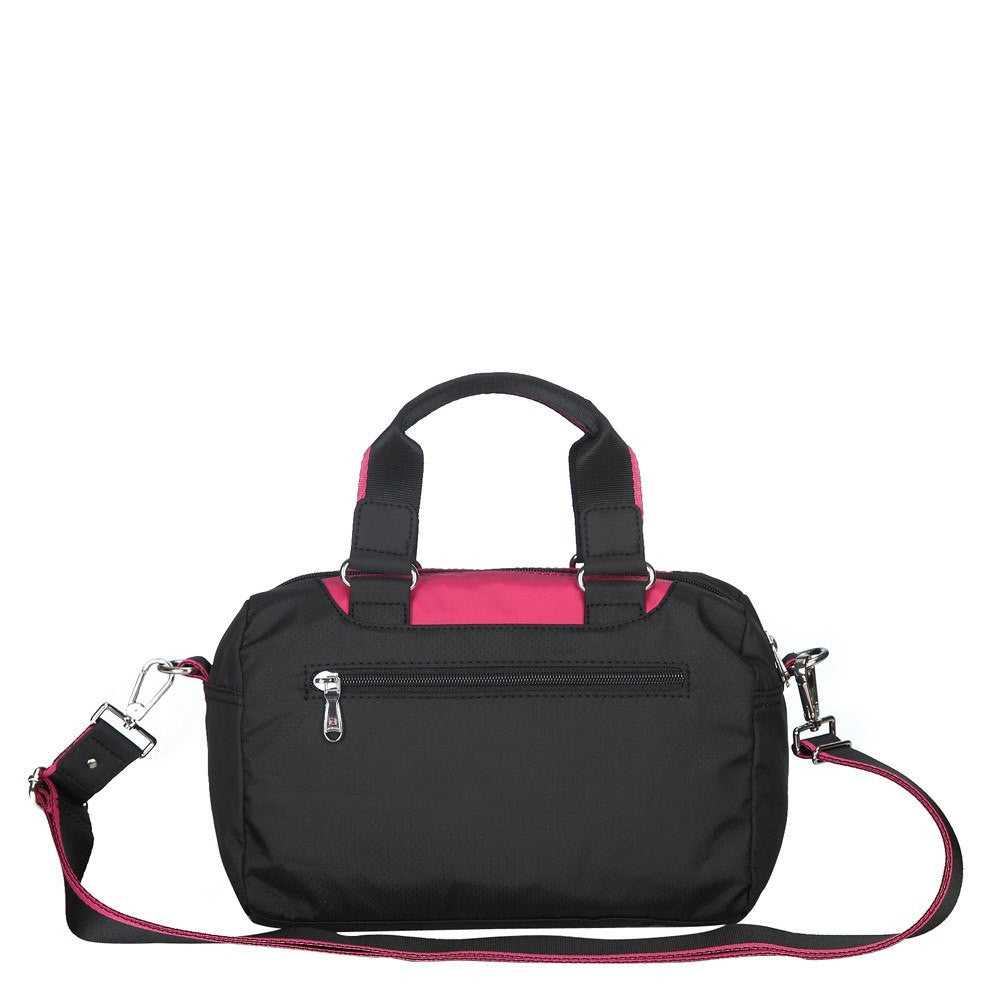 Satchel Handbag - Payton Color Trimmed Small Satchel Handbag Back [Black And Rio Red]