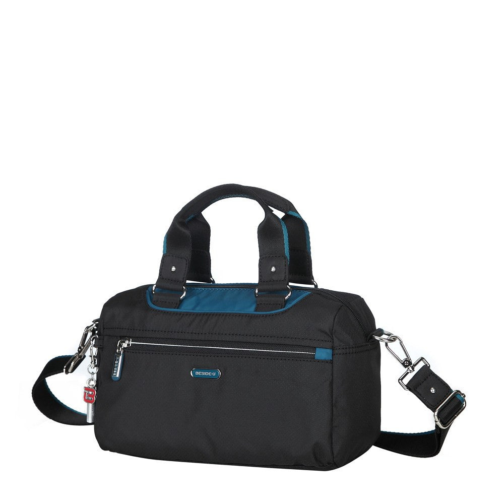 Satchel Handbag - Payton Color Trimmed Small Satchel Handbag Angled [Black And Ink Blue]