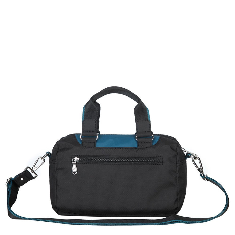 Satchel Handbag - Payton Color Trimmed Small Satchel Handbag Back [Black And Ink Blue]