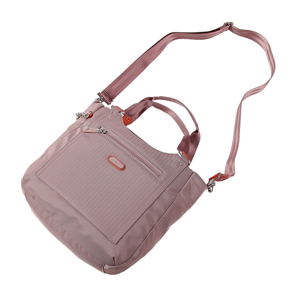 Satchel Handbag - Prema Leather Trimmed Square Satchel Handbag Lying Down [Rose Dawn]