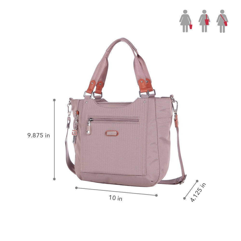 Satchel Handbag - Prema Leather Trimmed Square Satchel Handbag Size [Rose Dawn]