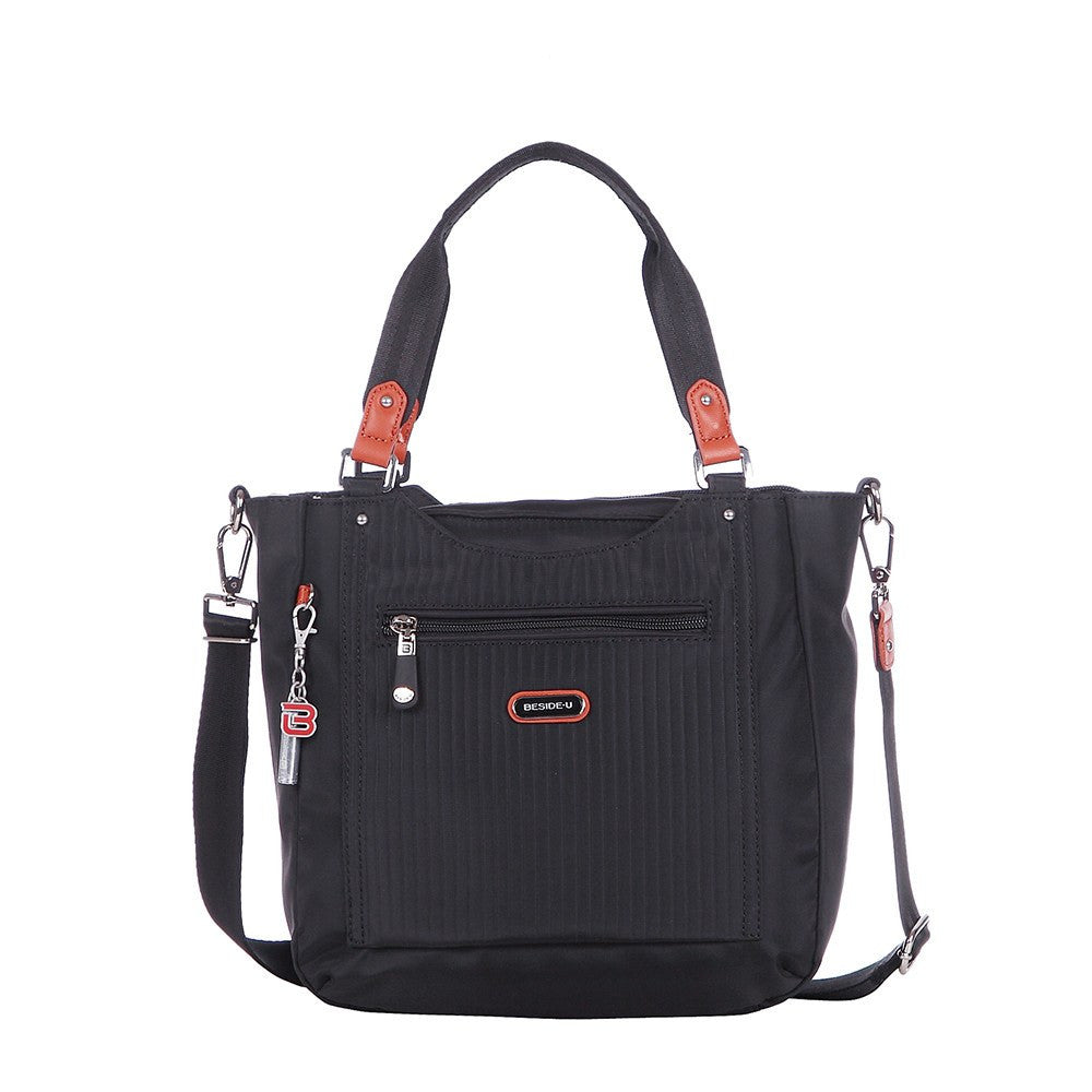 Satchel Handbag - Prema Leather Trimmed Square Satchel Handbag Front [Black]