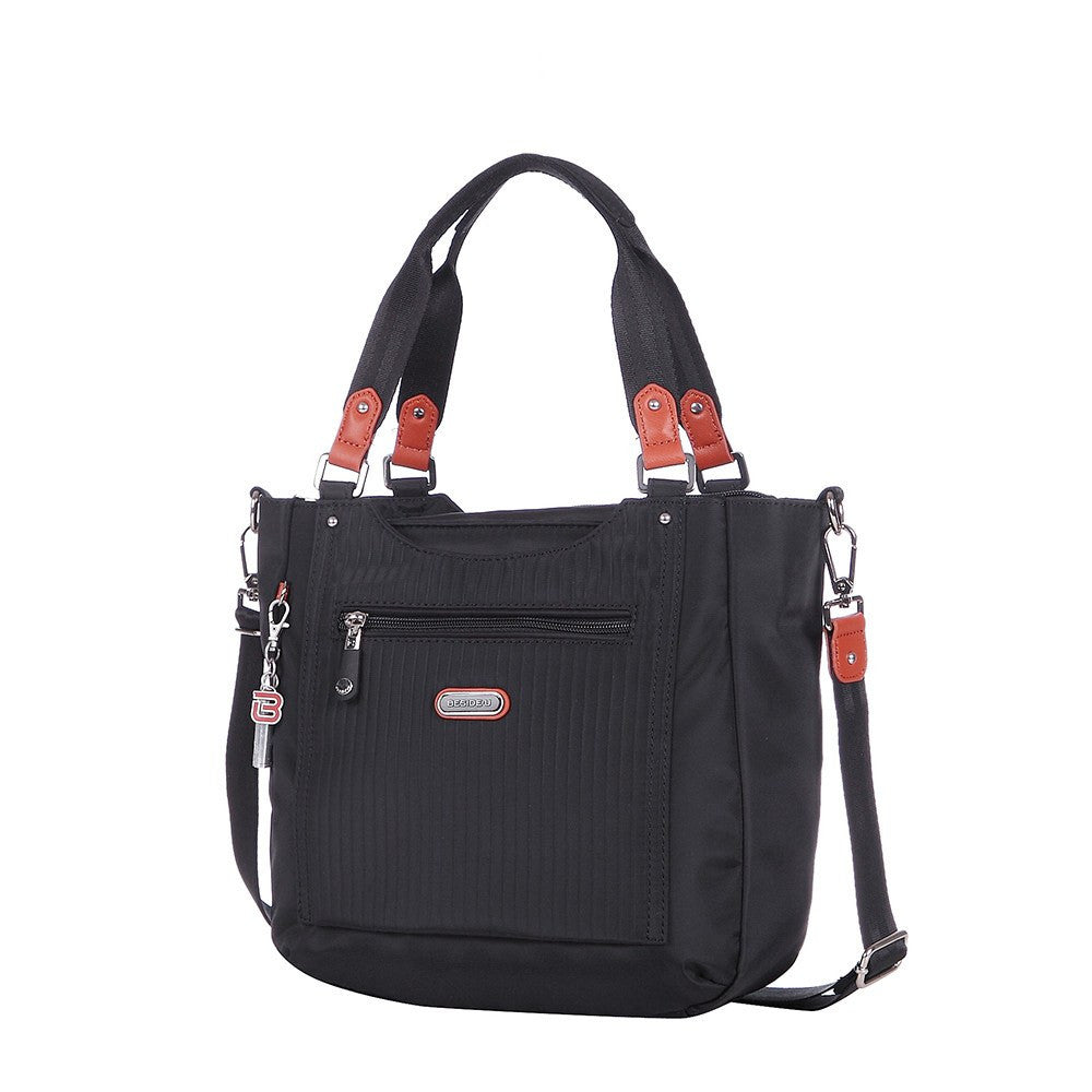 Satchel Handbag - Prema Leather Trimmed Square Satchel Handbag Angled [Black]