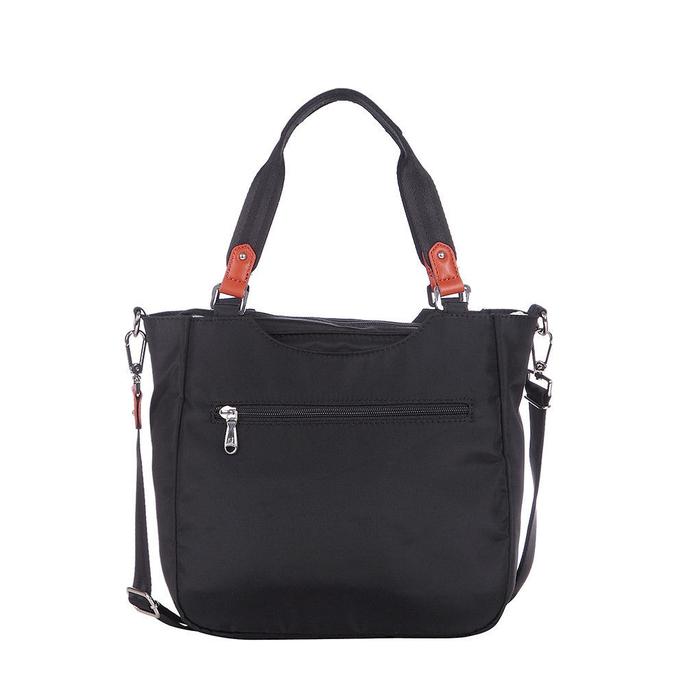 Satchel Handbag - Prema Leather Trimmed Square Satchel Handbag Back [Black]