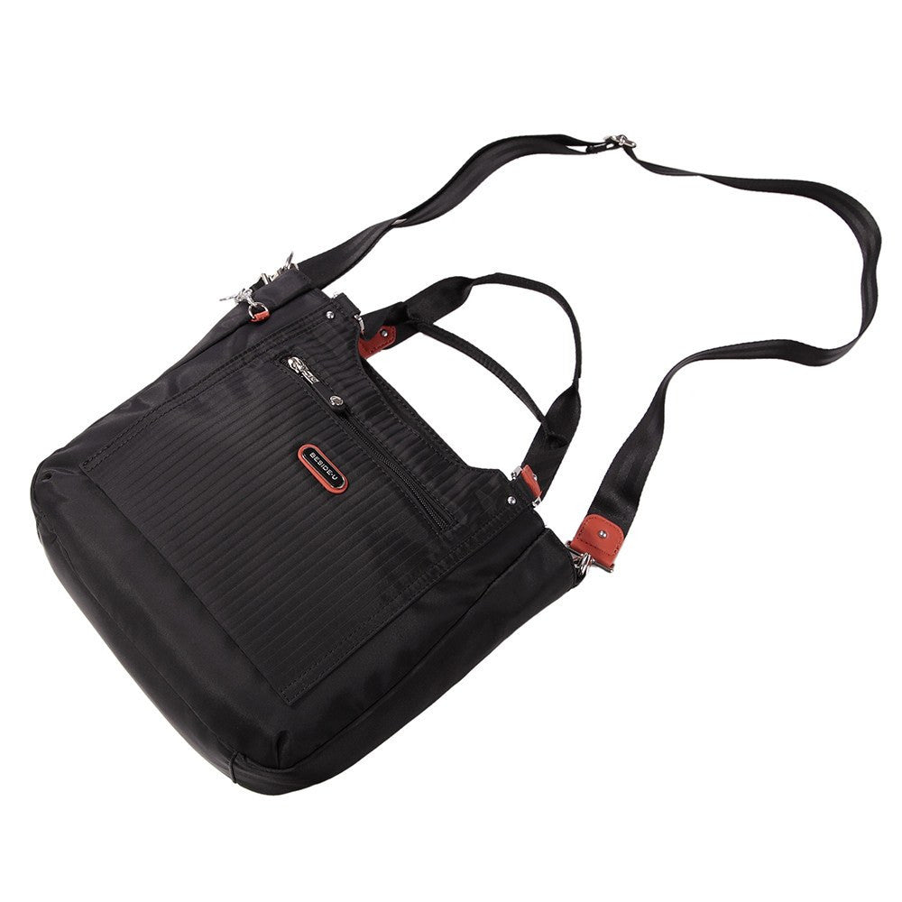 Satchel Handbag - Prema Leather Trimmed Square Satchel Handbag Lying Down [Black]