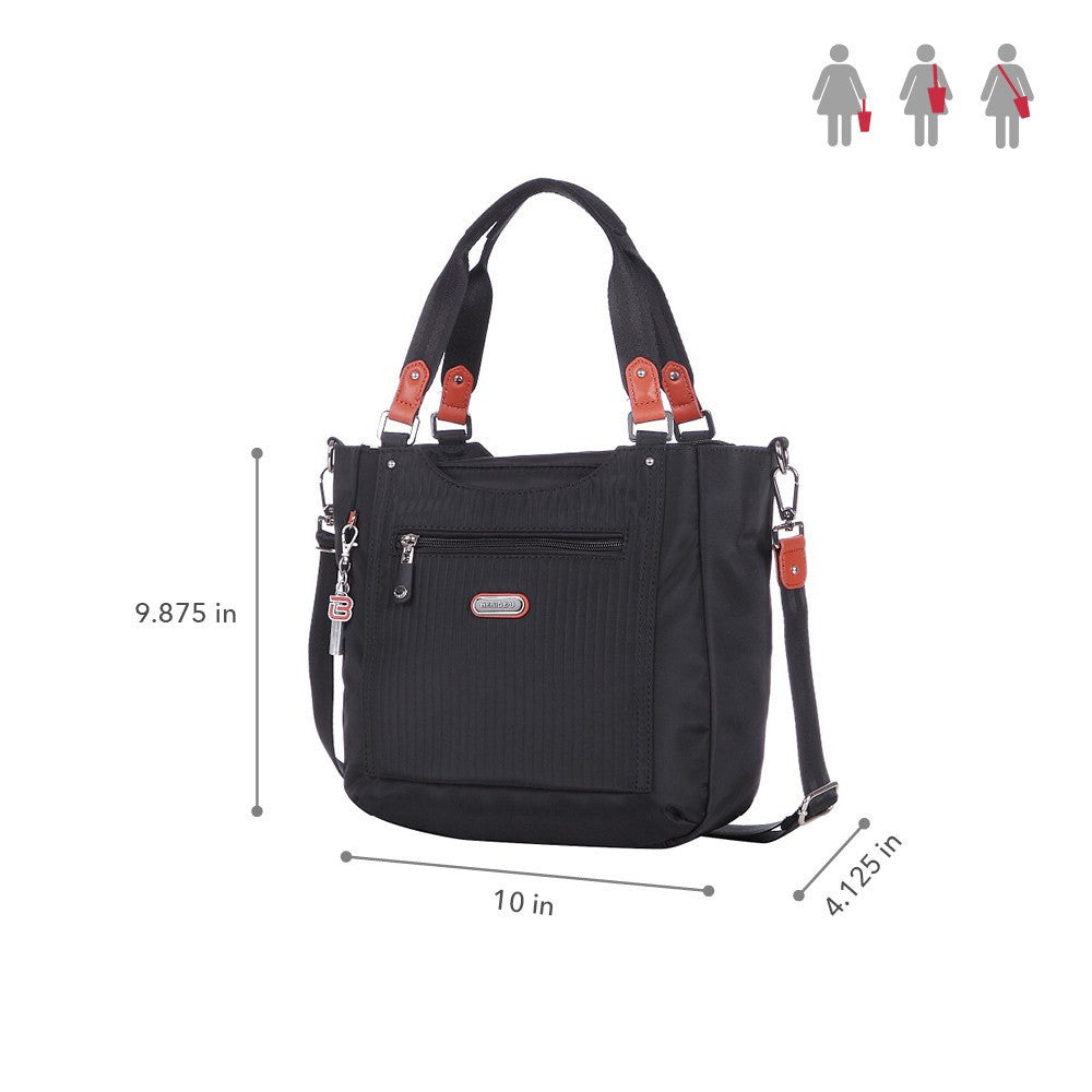 Satchel Handbag - Prema Leather Trimmed Square Satchel Handbag Size [Black]