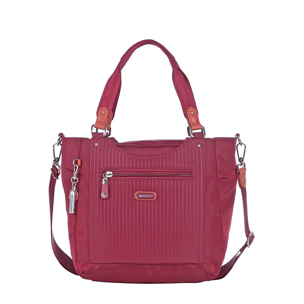 Satchel Handbag - Prema Leather Trimmed Square Satchel Handbag Front [Tawny Port]