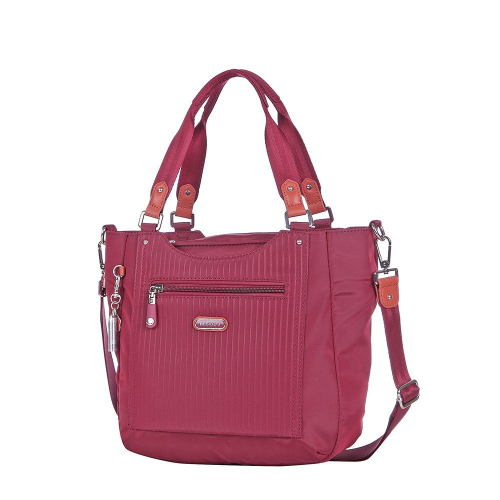 Satchel Handbag - Prema Leather Trimmed Square Satchel Handbag Angled [Tawny Port]