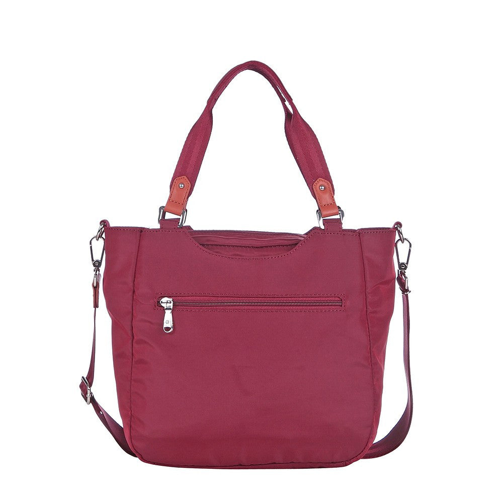 Satchel Handbag - Prema Leather Trimmed Square Satchel Handbag Back [Tawny Port]