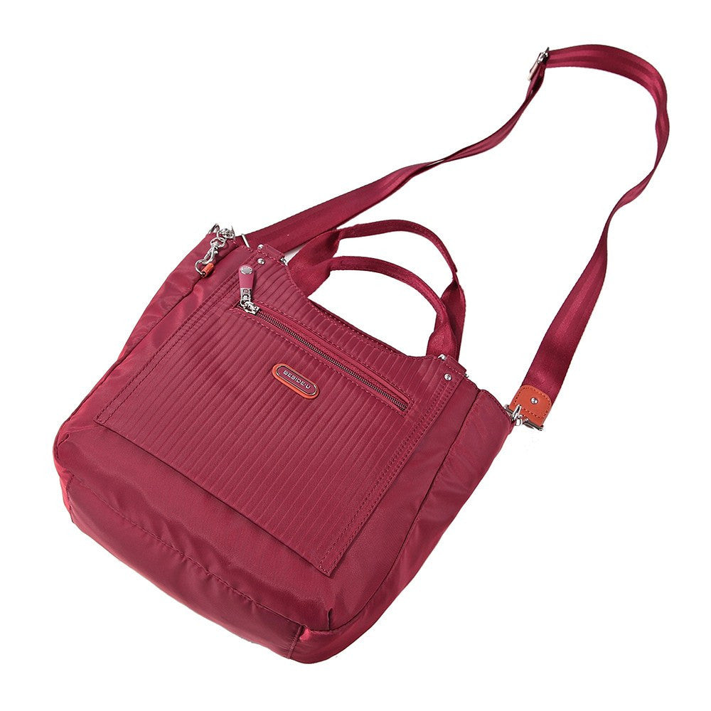 Satchel Handbag - Prema Leather Trimmed Square Satchel Handbag Lying Down [Tawny Port]