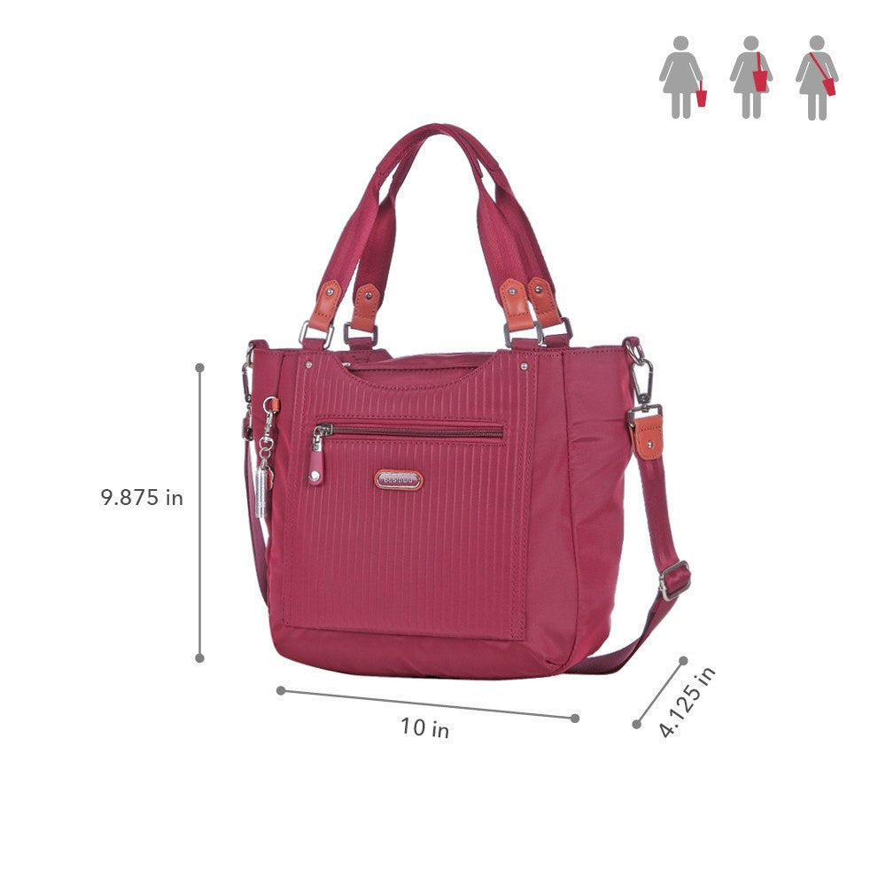 Satchel Handbag - Prema Leather Trimmed Square Satchel Handbag Size [Tawny Port]