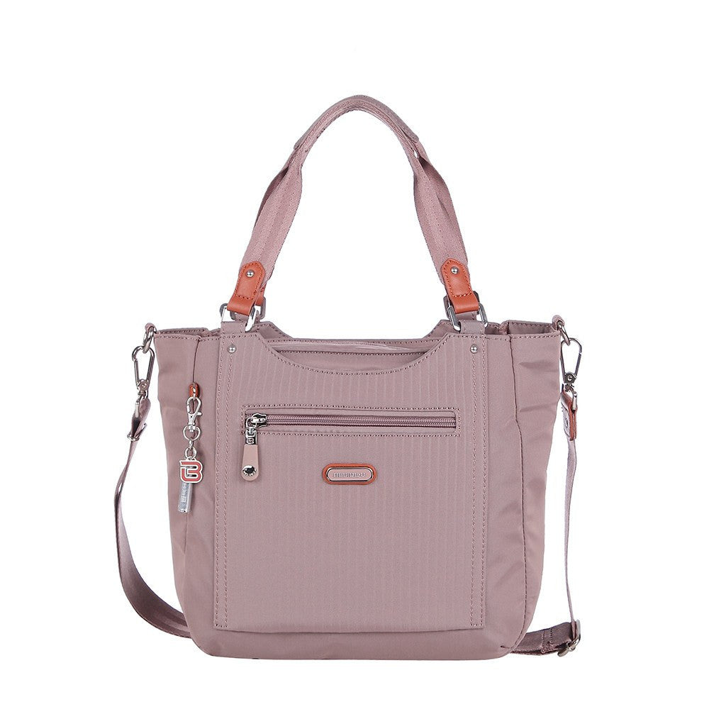 Satchel Handbag - Prema Leather Trimmed Square Satchel Handbag Front [Rose Dawn]