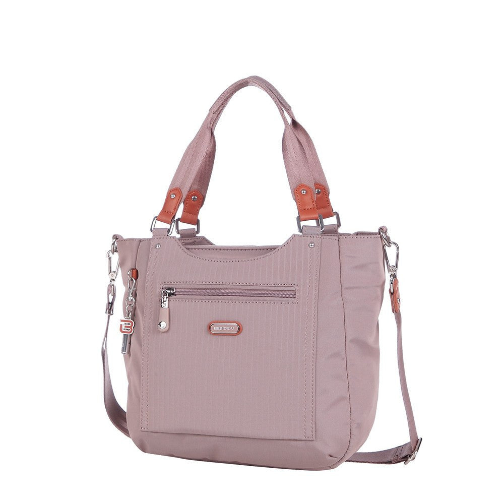 Satchel Handbag - Prema Leather Trimmed Square Satchel Handbag Angled [Rose Dawn]