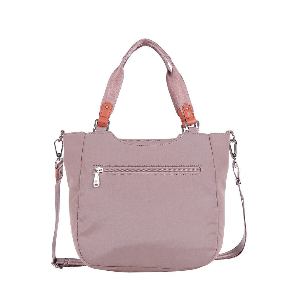 Satchel Handbag - Prema Leather Trimmed Square Satchel Handbag Back [Rose Dawn]