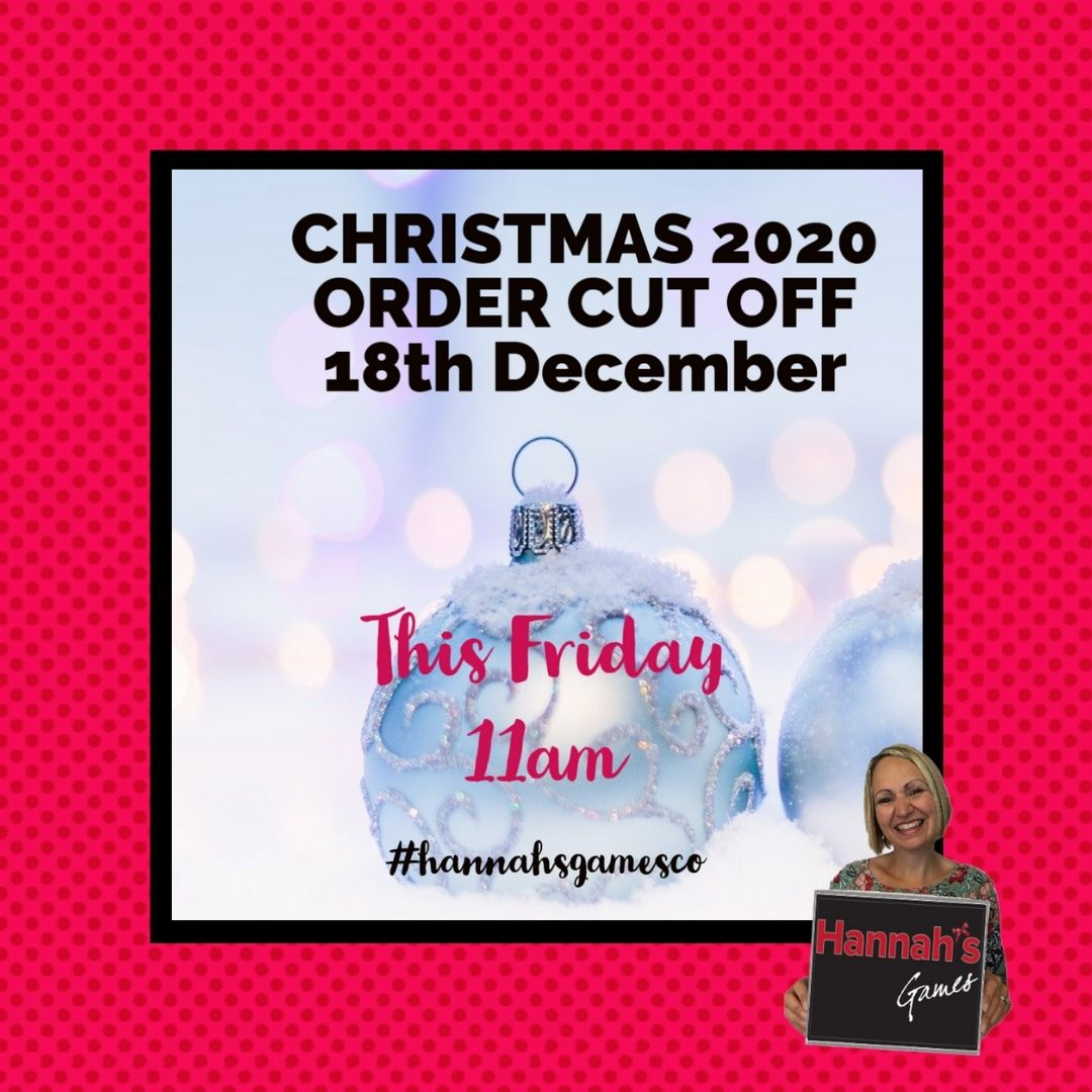 Christmas 2020 Last Posting Dates for Hannah's Games