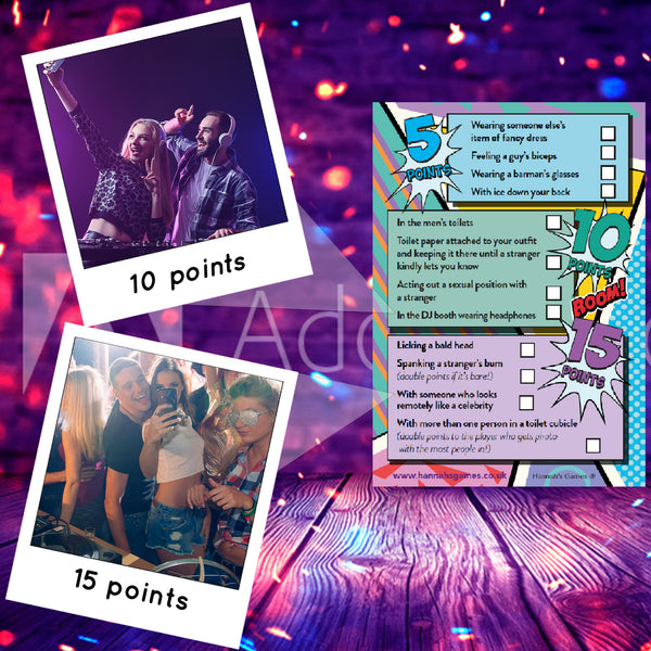 Selfie Hen Party Scavenger Hunt Challenge Game Cards - Hen Party Games Photo Challenges & Dares