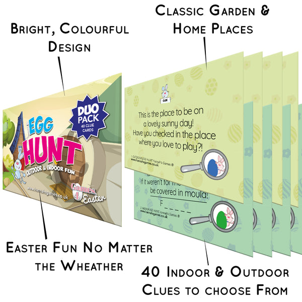 Easter Egg Hunt Clues Duo for Indoor + Outdoor Game **Saver Pack**