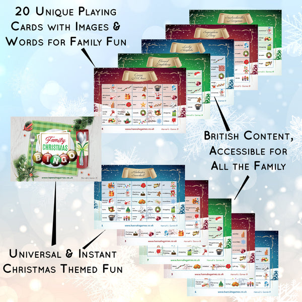 Christmas Bingo Game for Kids & Families - 20 Festive Games Cards - Hannah's Games