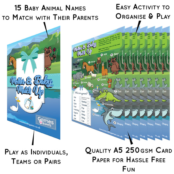 Baby Shower Animal Game Quiz - 10 sheets Name the Baby Animal Baby Shower Games Match Up
