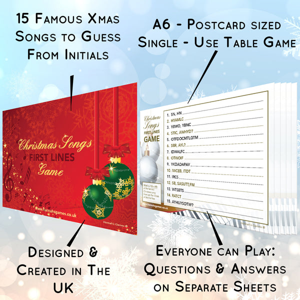Christmas Songs First Letters Game Quiz - Xmas Music Quiz Trivia Cards