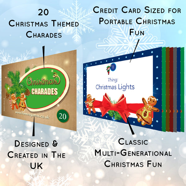 Christmas Games for Family *SAVER PACK* Charades - Xmas Traditions Trivia - Music Quiz Game