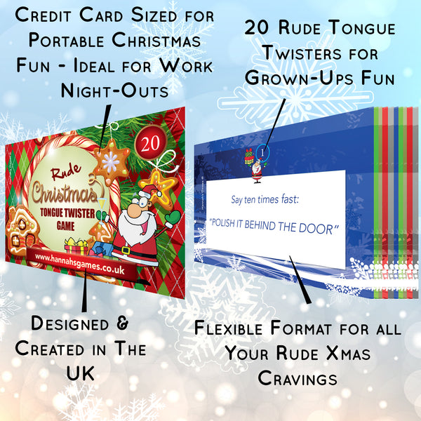 Rude Christmas Tongue Twister Card Game - Novelty Xmas Games For Adults Twisters