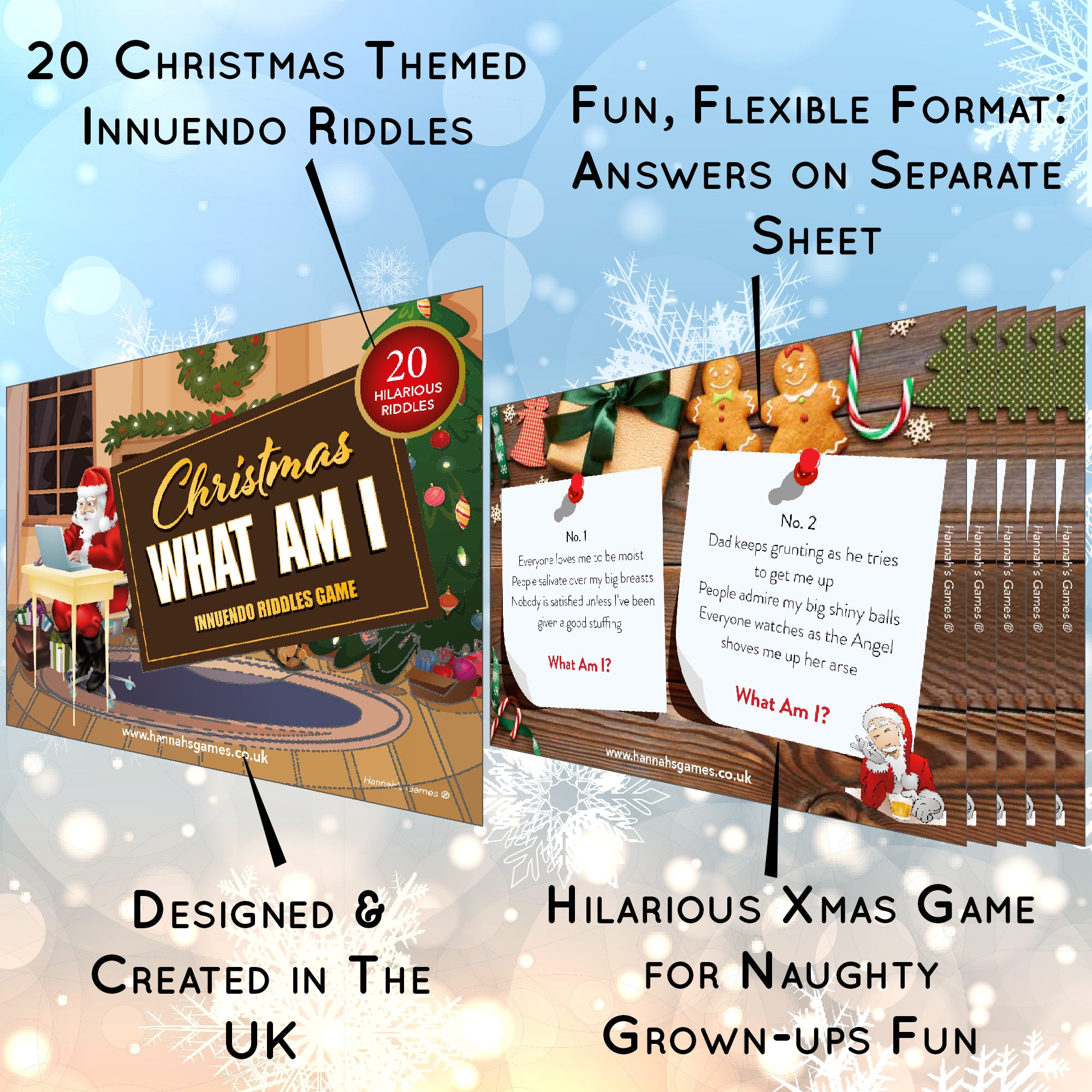 Xmas What Am I Game Innuendo Adult Christmas Games Gifts Fun Hannah S Games