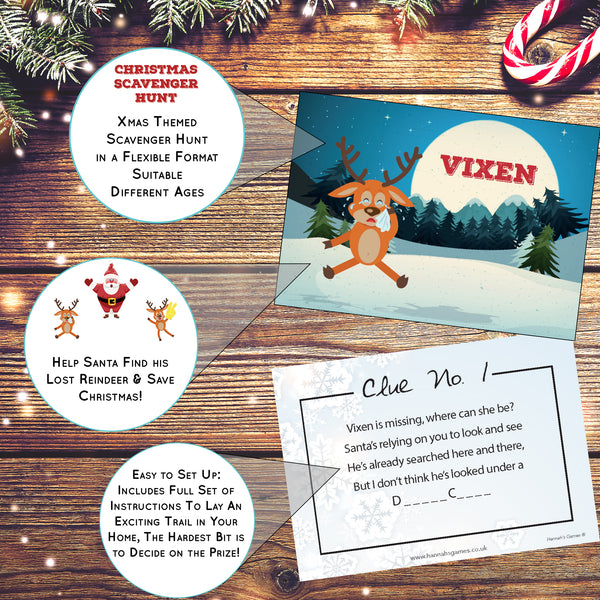 Christmas Treasure Hunt Game - Scavenger Hunt for kids Xmas Games -Eve Box Fillers - Elf Shelf Fun Ideas