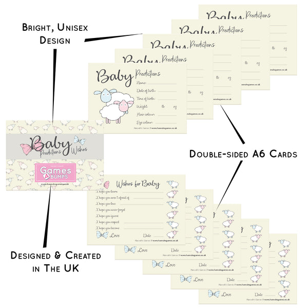 Baby Shower Prections and Wishes Cards Game- Keepsake Advice to newborn