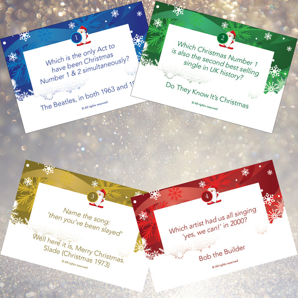 Xmas Number Ones Christmas Music Quiz - Xmas Song Trivia Games Cards