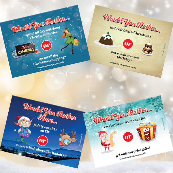Xmas Would you Rather Cards - Christmas Games for Families & Childrens Eve Box Fillers
